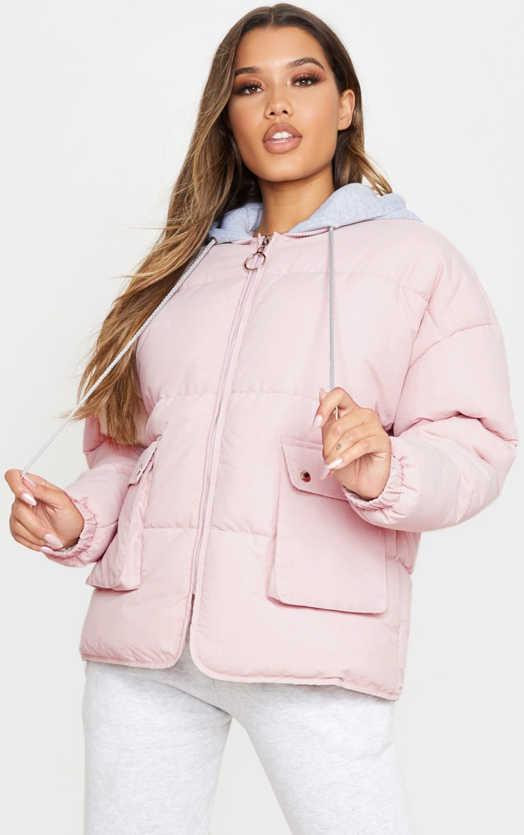 Pale Pink Peach Skin Oversized Hooded Puffer 1
