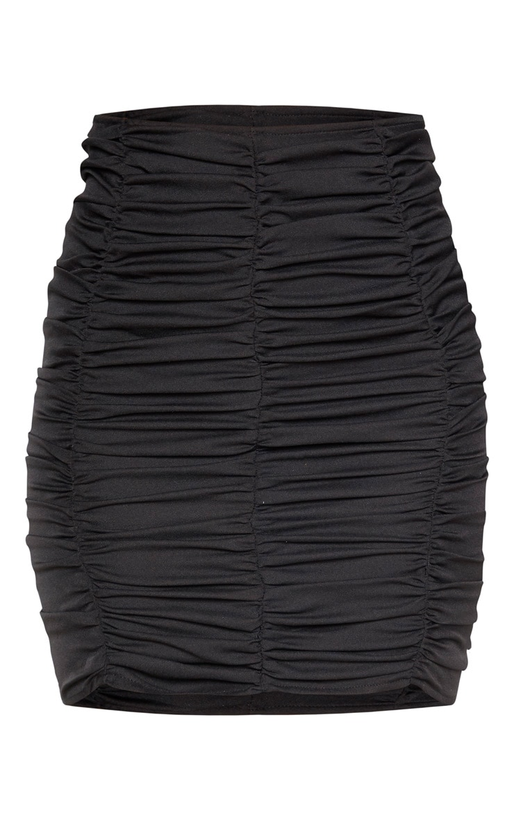 Black Ruched Seam Detail Mini Skirt 3