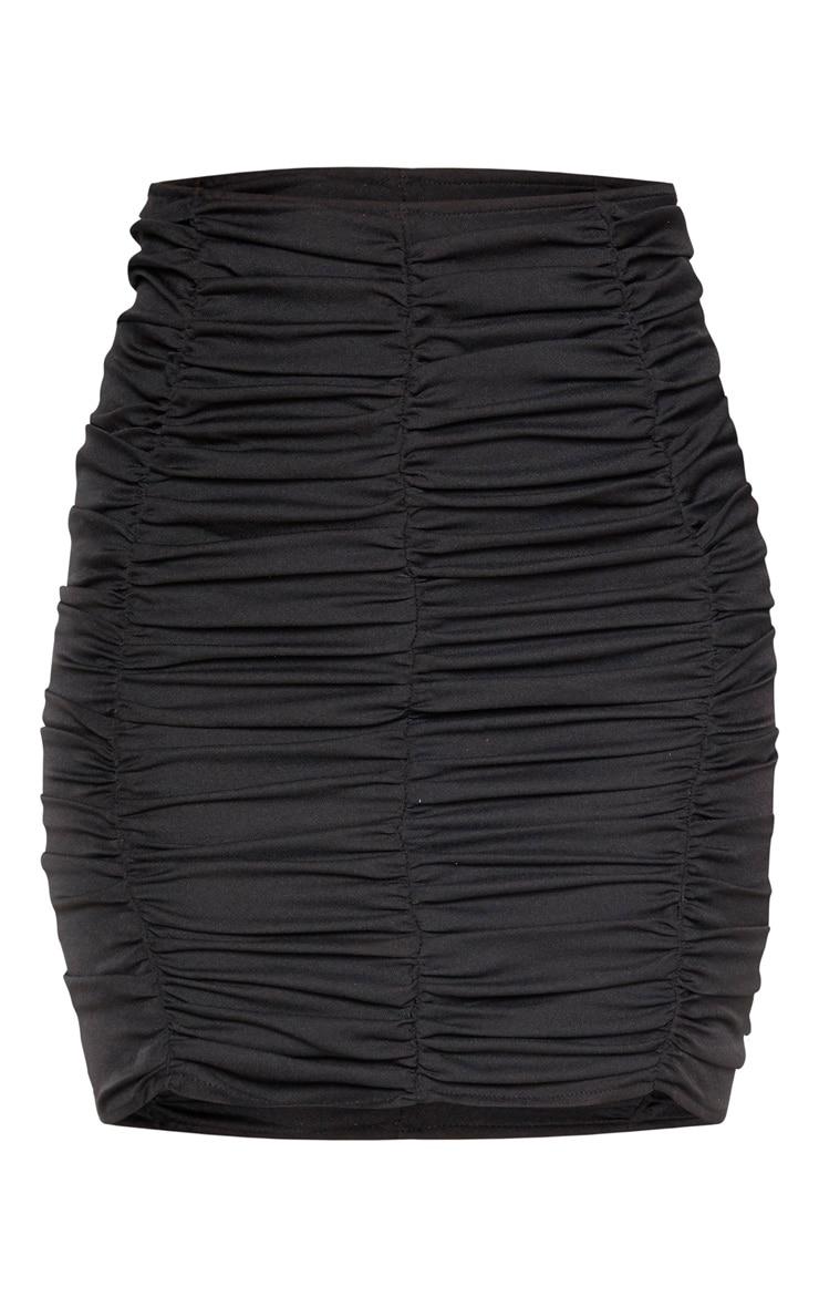 Black Ruched Seam Detail Mini Skirt 3