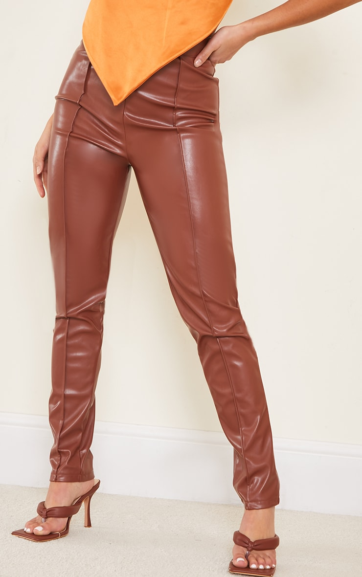 Petite Chocolate Faux Leather Seam Detail Trouser 2