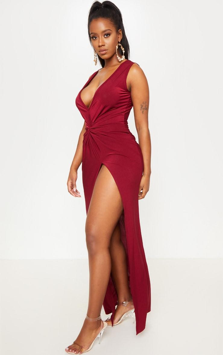 Shape Robe longue moulante rouge à effet torsadé