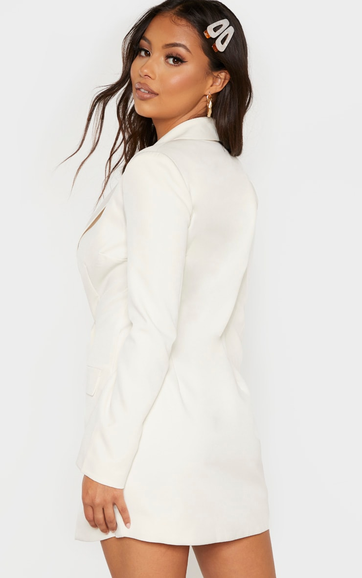 Petite Cream Button Woven Blazer Dress 2