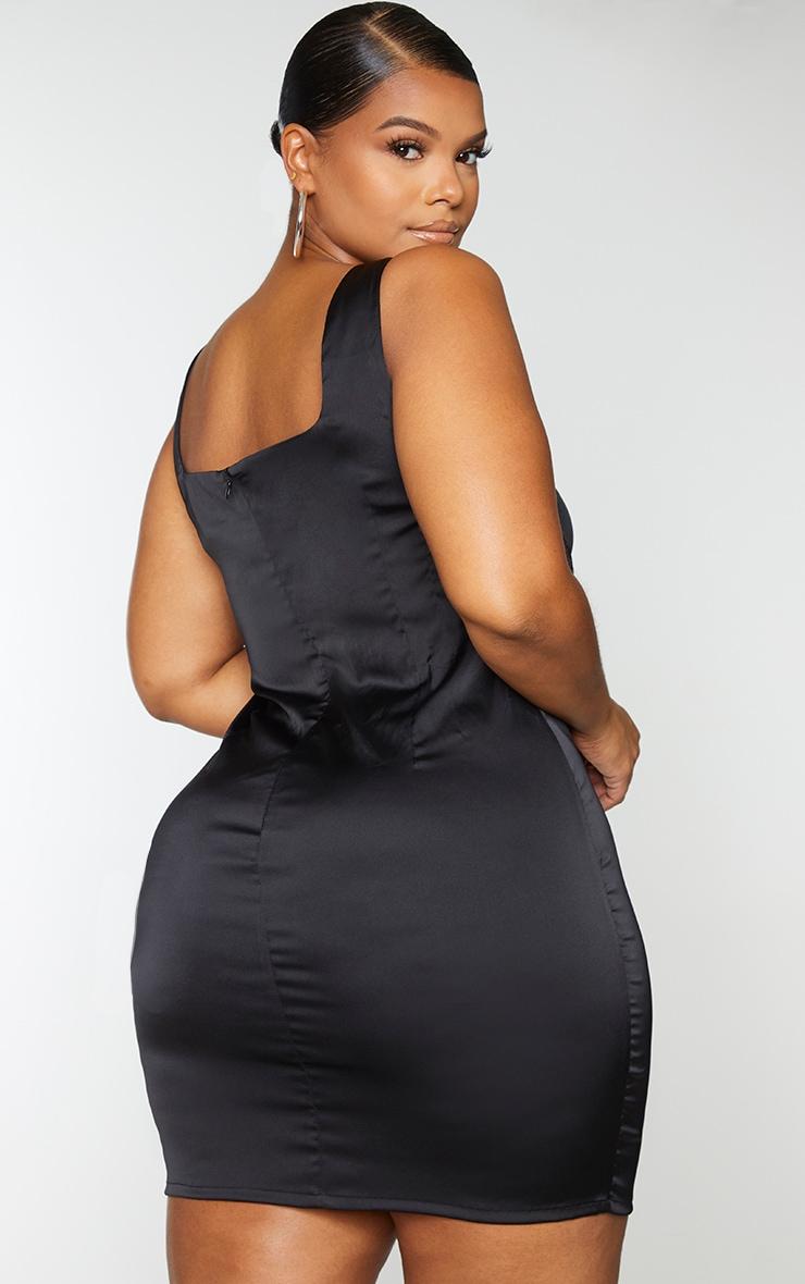 Plus Black Satin Lace Up Bodycon Dress 2