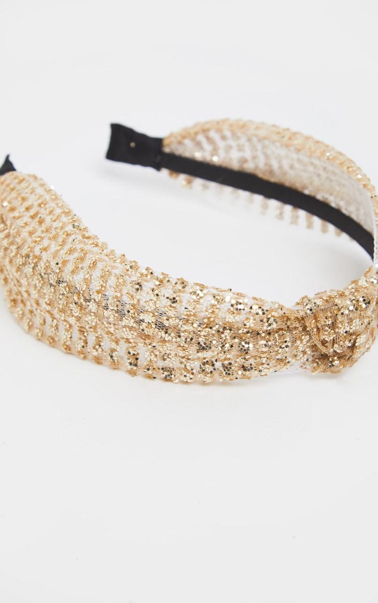 Gold Glitter Knotted Headband 2