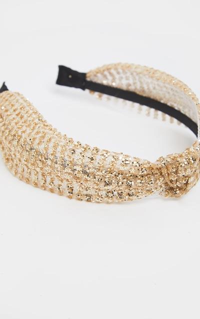 Gold Glitter Knotted Headband