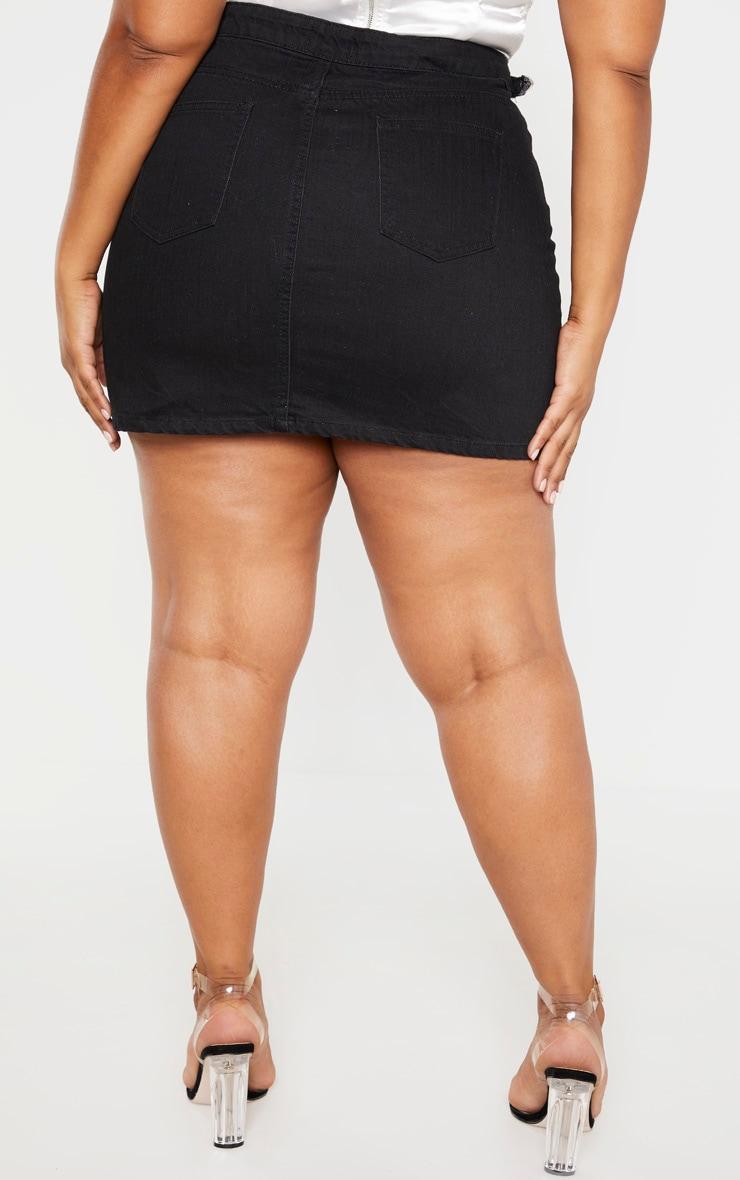 Plus Black Buckle Detail Denim Skirt 5