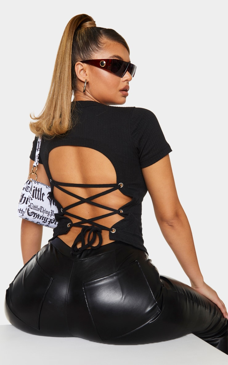 Black Rib Lace Up Back T Shirt 1