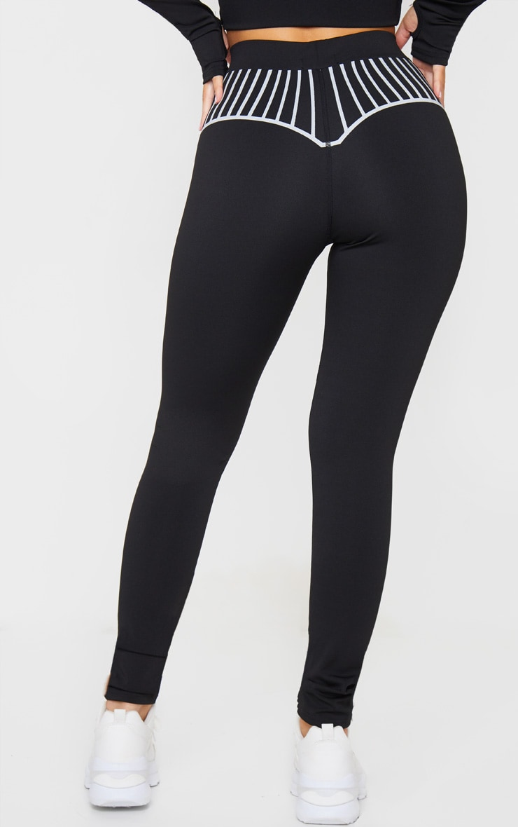Black Line Detail Printed Gym Leggings 3