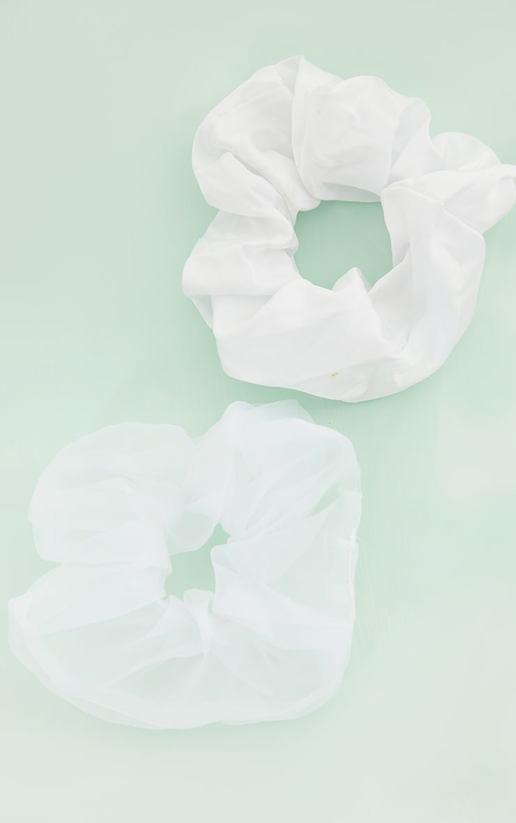 White Assorted 2 Pack Scrunchie 1