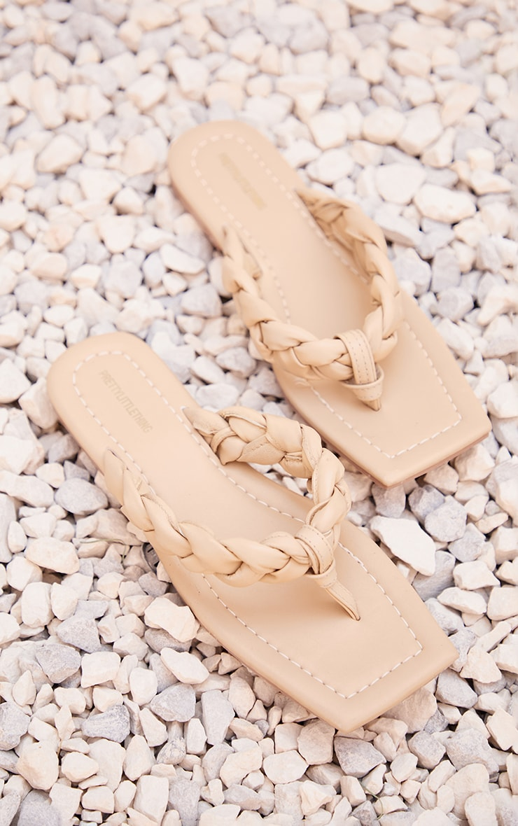 Cream Real Leather Square Toe Plaited Toe Thong Sandals 3