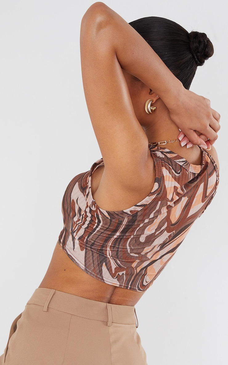 Brown Rib Abstract Swirl Print Crop Vest 2