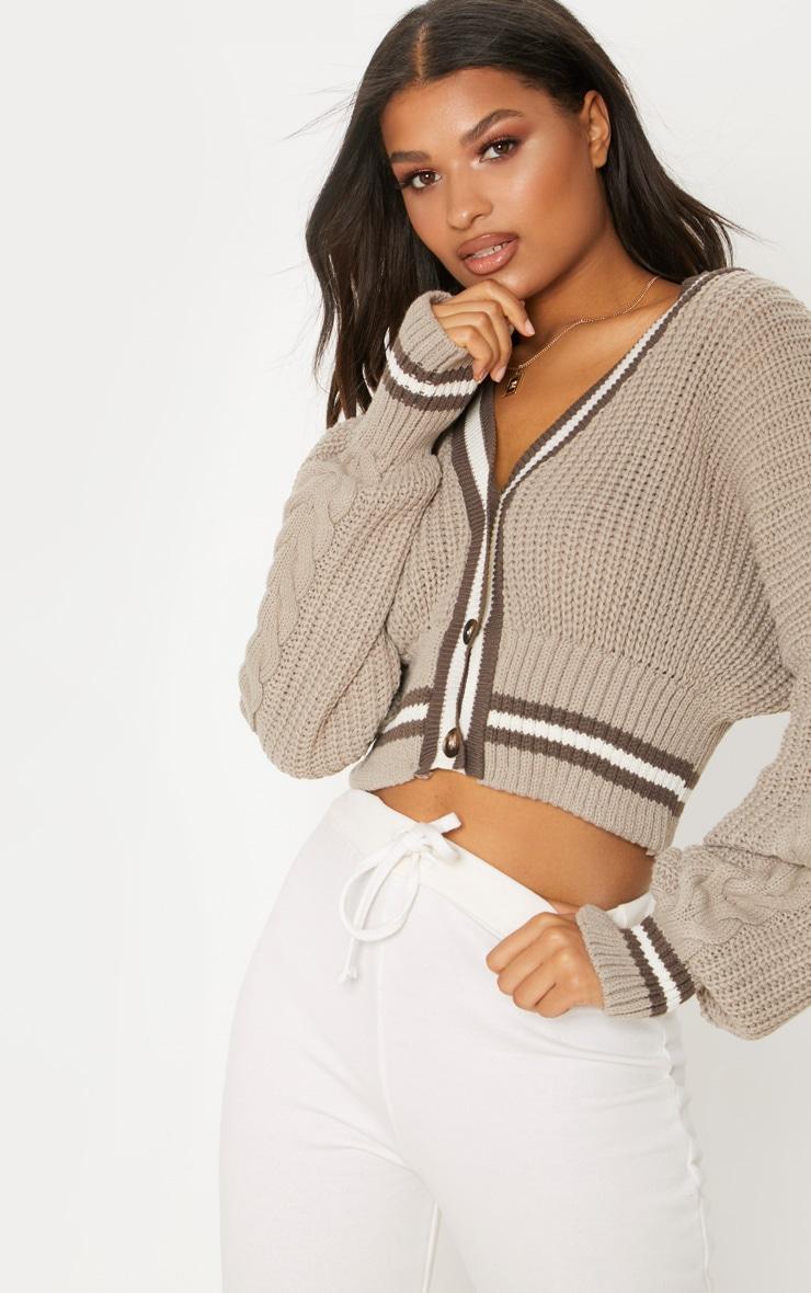Grey Crop Extreme Sleeve Cardigan