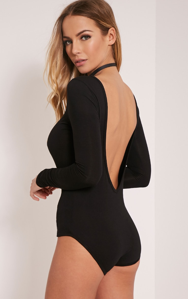 Debra body noir en jersey dos en V 6