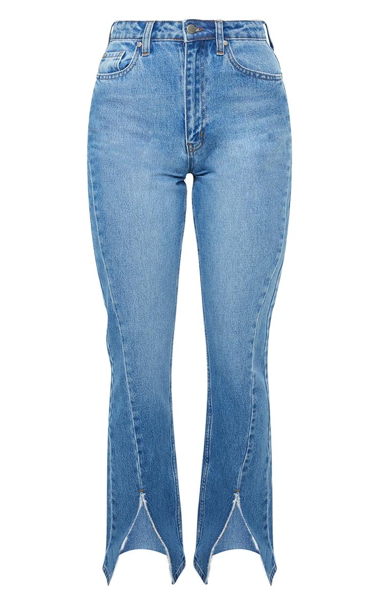 Mid Blue Wash Seam Front Raw Hem Split Front Jeans 5