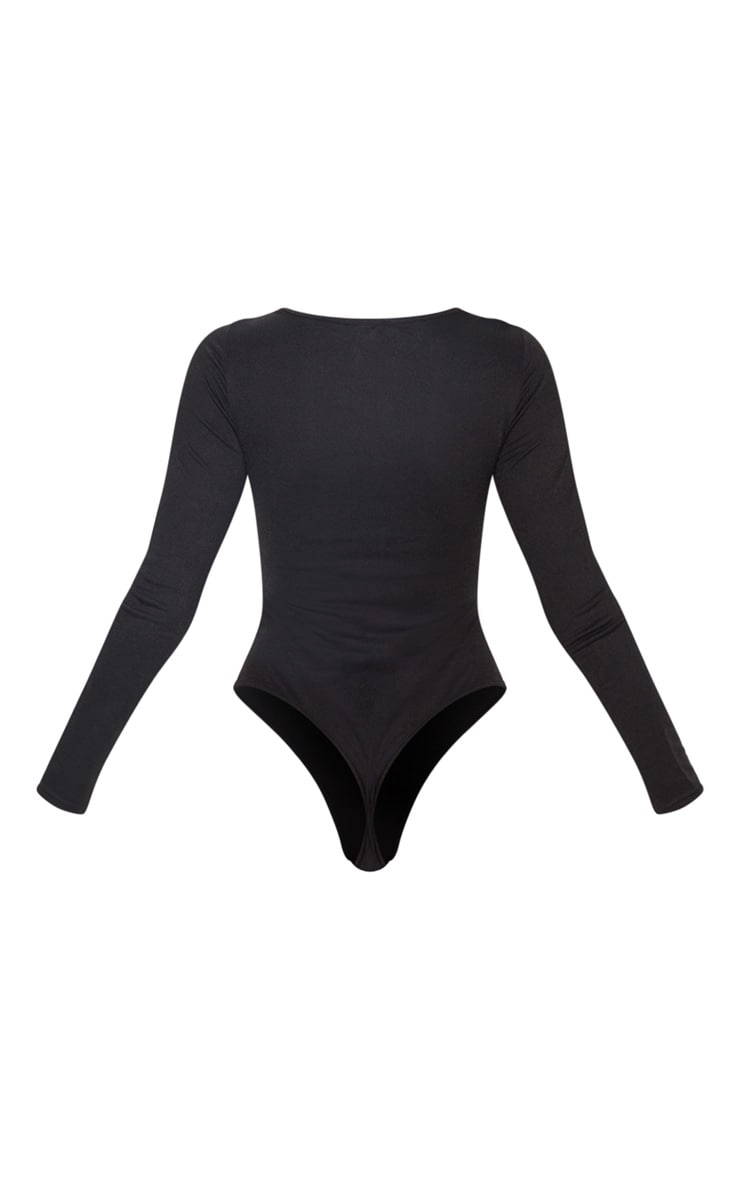 Black Ruched Front Long Sleeve Bodysuit 4