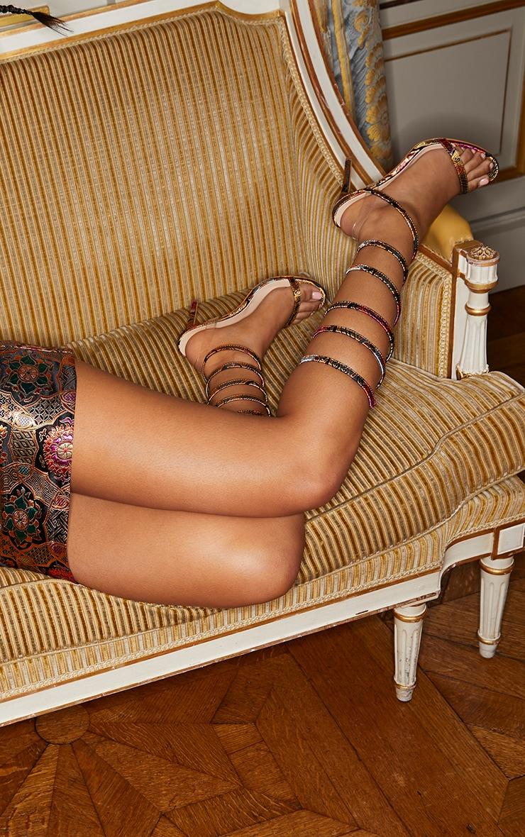 Gold Oriental Brocade Leg Wrap Sandal 1