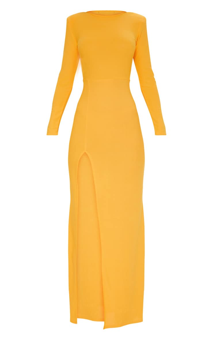 Papaya Shoulder Pad Extreme Split Maxi Dress 3