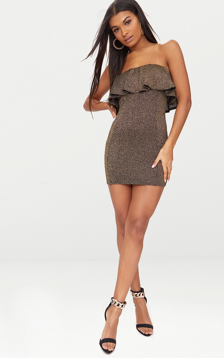 Gold Lurex Bandeau Frill Bodycon Dress   3