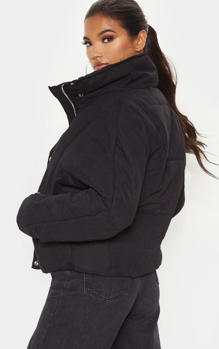 Black Oversized Peach Skin Puffer 2