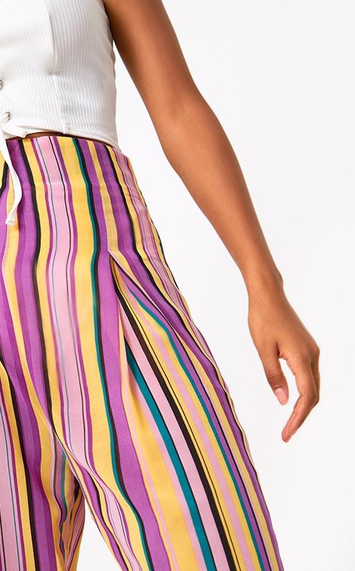 Pink Chiffon Stripe High Waisted Wide Leg Trousers 5