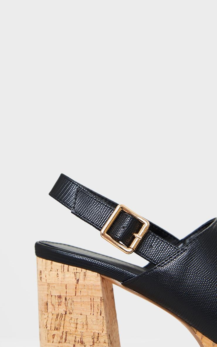 Black Cork Platform Slingback Sandals 4