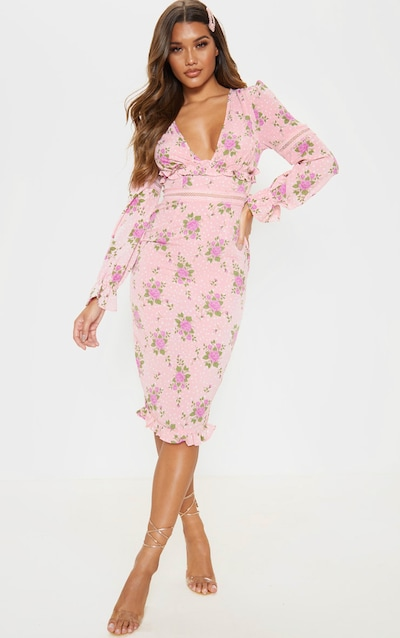 Pink Floral Print Plunge Long Sleeve Bodycon Dress