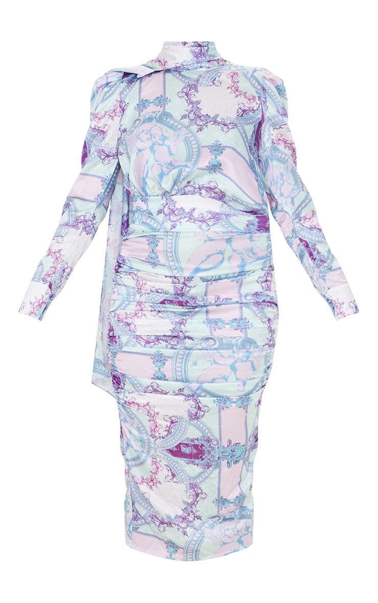 Lilac Paisley Printed Puff Sleeve Dress with Hijab 5