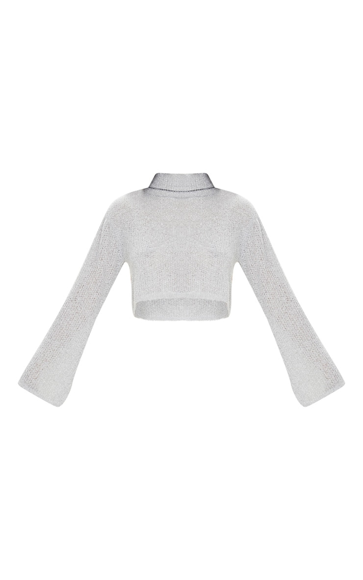Light Grey Boucle Crop Knitted Roll Neck Jumper 3