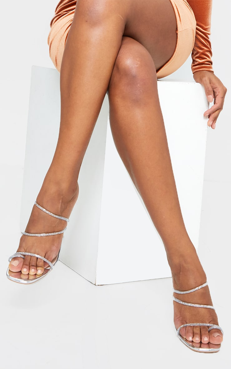 Silver Wide Fit Clear Cake Stand Heel Diamante Hot Fix Strappy Mules 1
