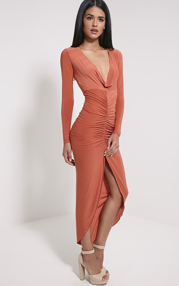 Ellie Rust Slinky Ruched Maxi Dress 3
