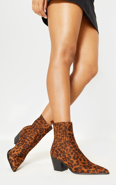 6729be329ef Leopard Chelsea Western Ankle Boot