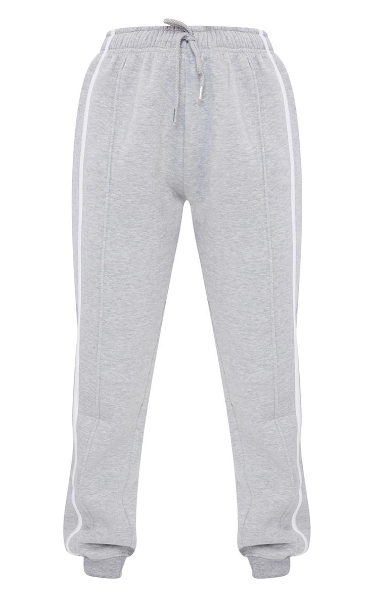 Jogging gris à doubles bandes blanches latérales 5