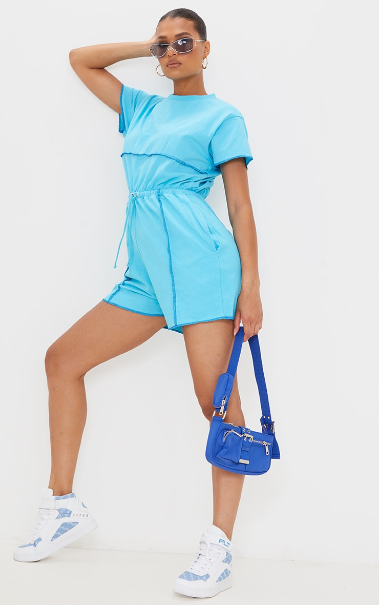 Bright Blue Overlocked Hem T Shirt Romper 1