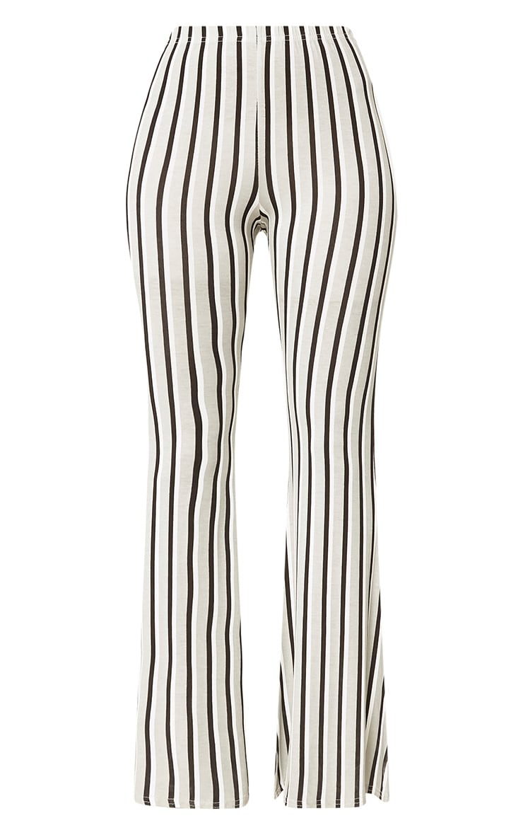 Grey Vertical Stripe Jersey Flared Trousers 3