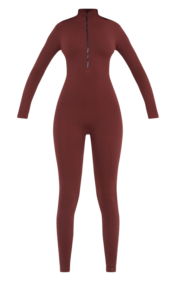 Tall Chocolate Structured Contour Rib Jumpsuit 5
