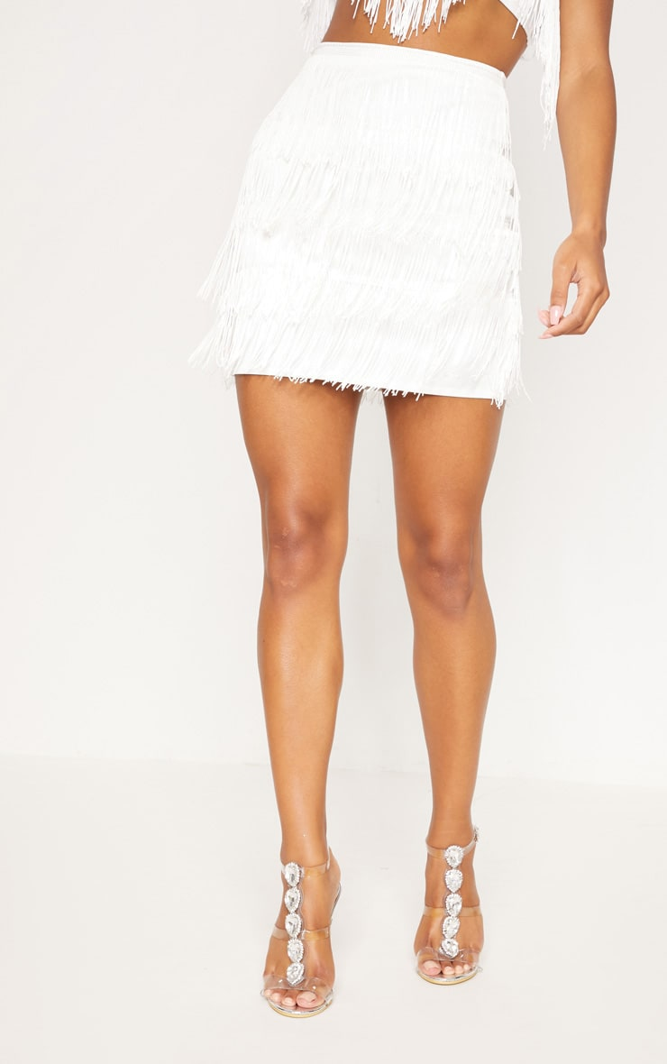 White Tiered Fringe Mini Skirt 4