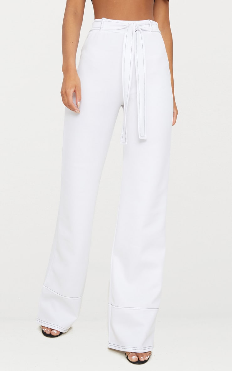 White Belted Contrast Stitch Wide Leg Trouser 2