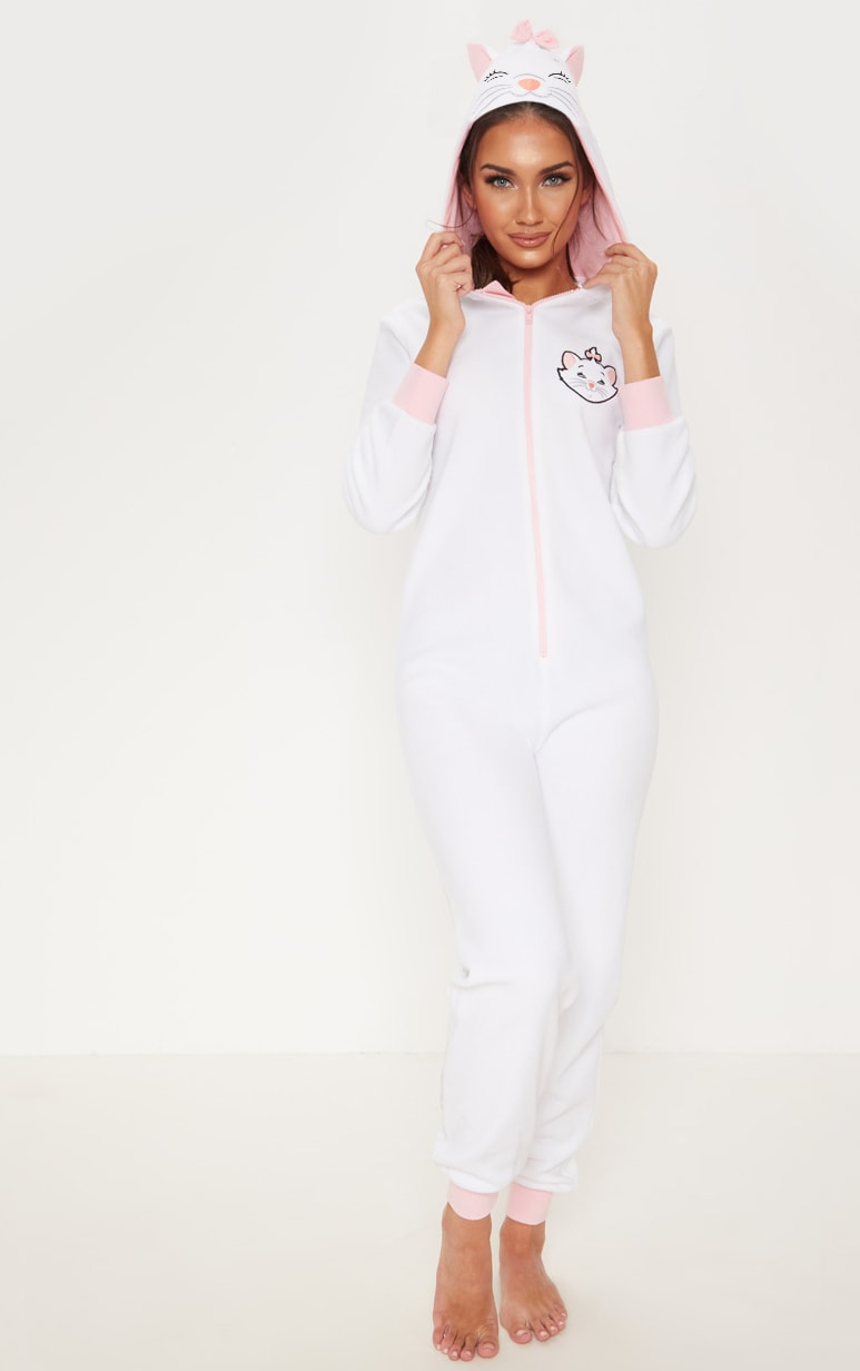 White DISNEY Marie Hooded Onesie