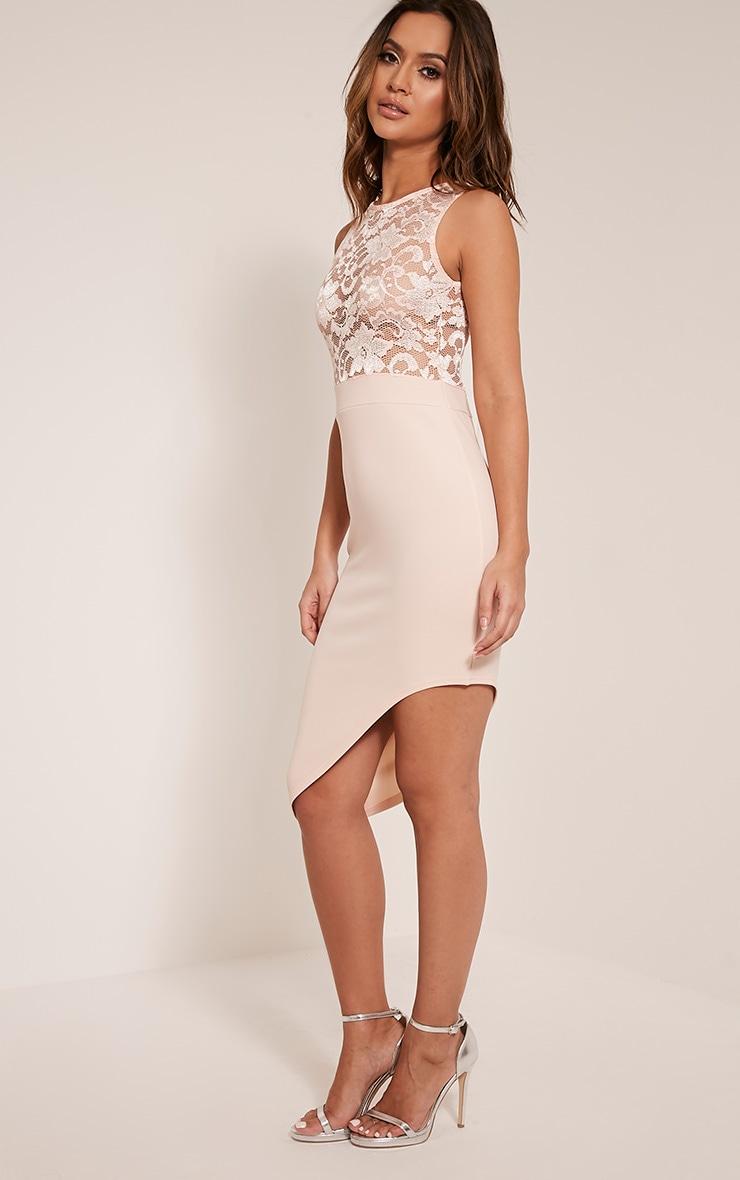 Patsy Nude Lace Top Asymmetric Midi Dress 5