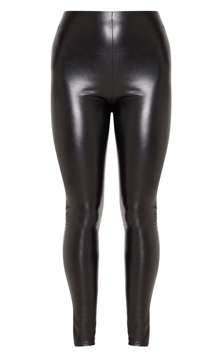 Black Faux Leather Ruched Bum Legging 3