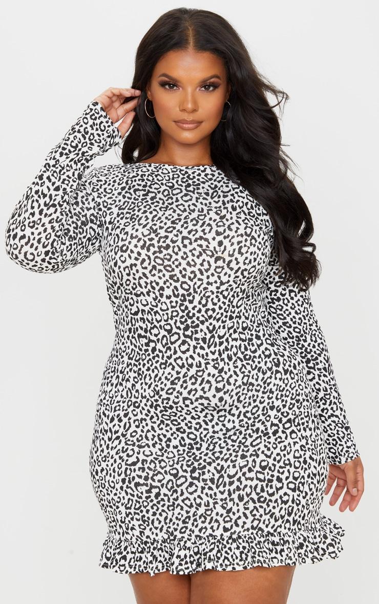 Plus Monochrome Leopard Print Long Sleeve Frill Hem Shift Dress 1
