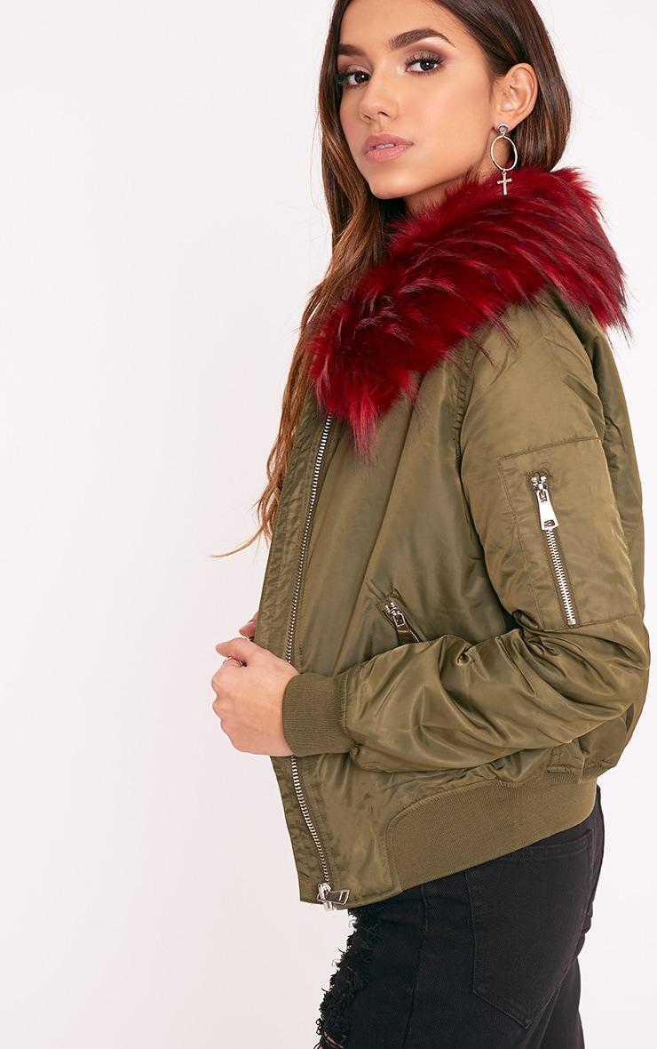 Mia Khaki  Faux Fur Collar Crop Parka 2