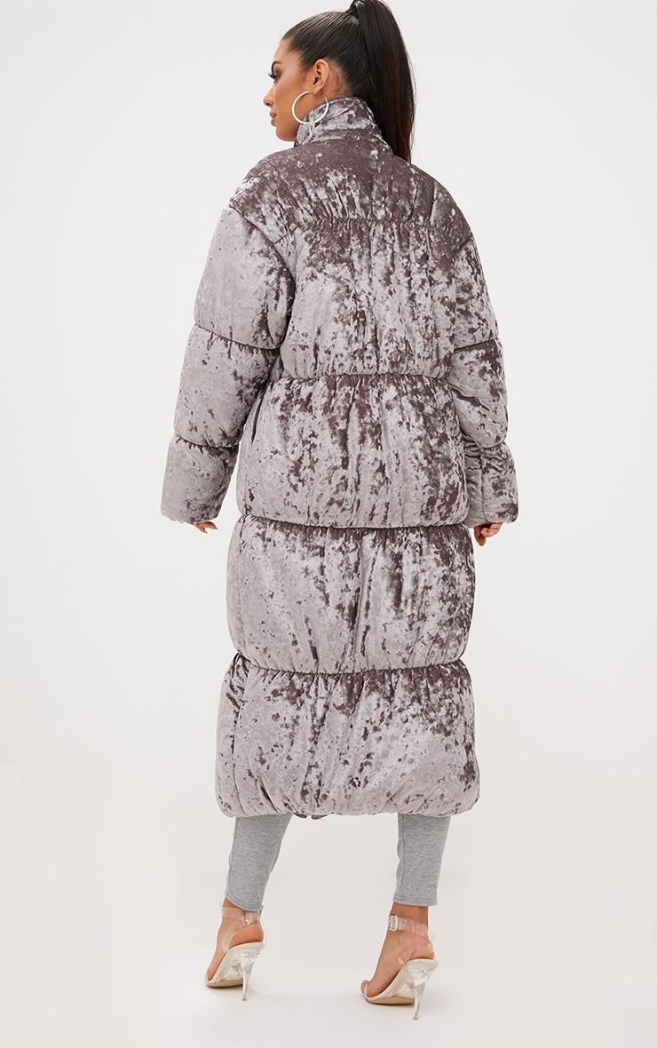 Grey Velvet Longline Puffer Coat 3
