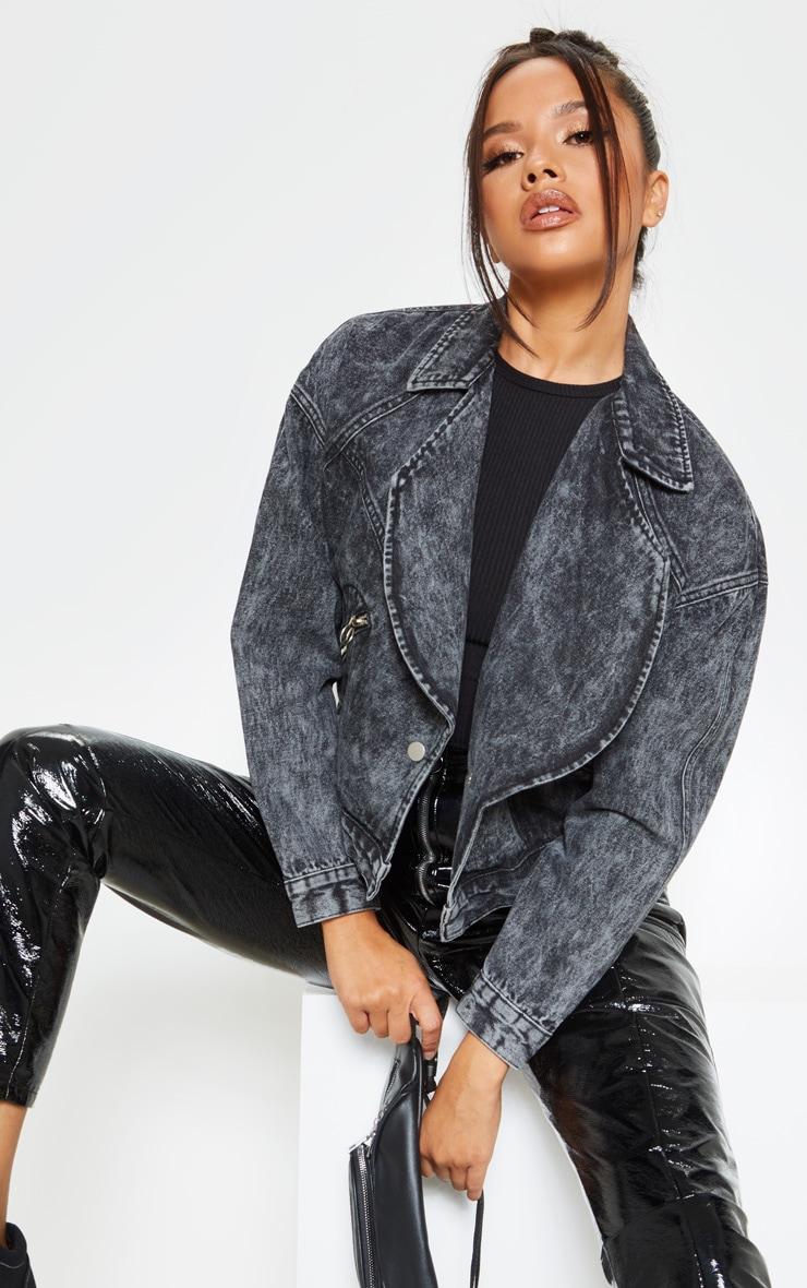 Acid Black Oversized Denim Biker Jacket 1