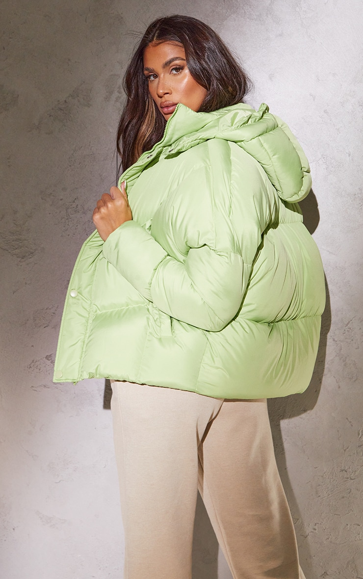 RENEW Tall Sage Green Nylon Oversized Curved Panel Puffer Jacket 2