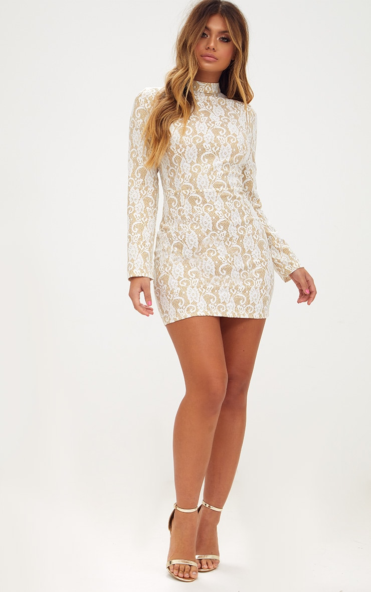 White Glitter Lace High Neck Bodycon Dress  4