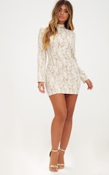 White Glitter Lace High Neck Bodycon Dress