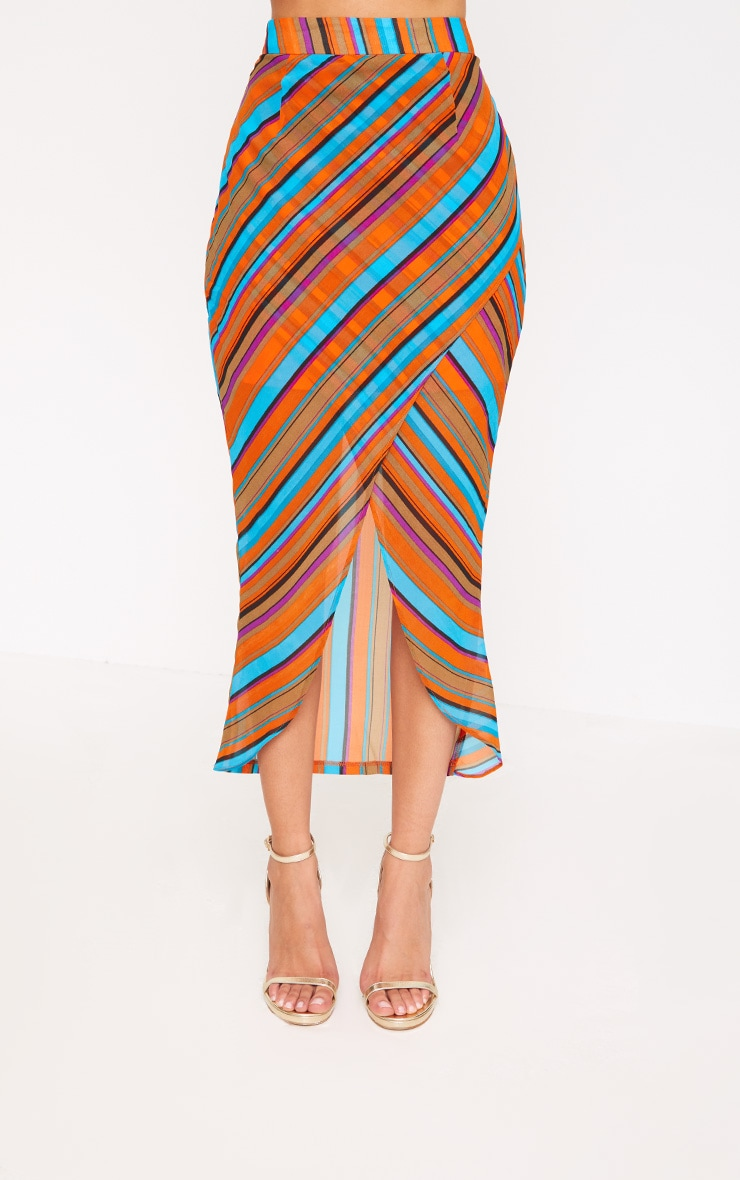 Orange Stripe Wrap Midaxi Skirt 2