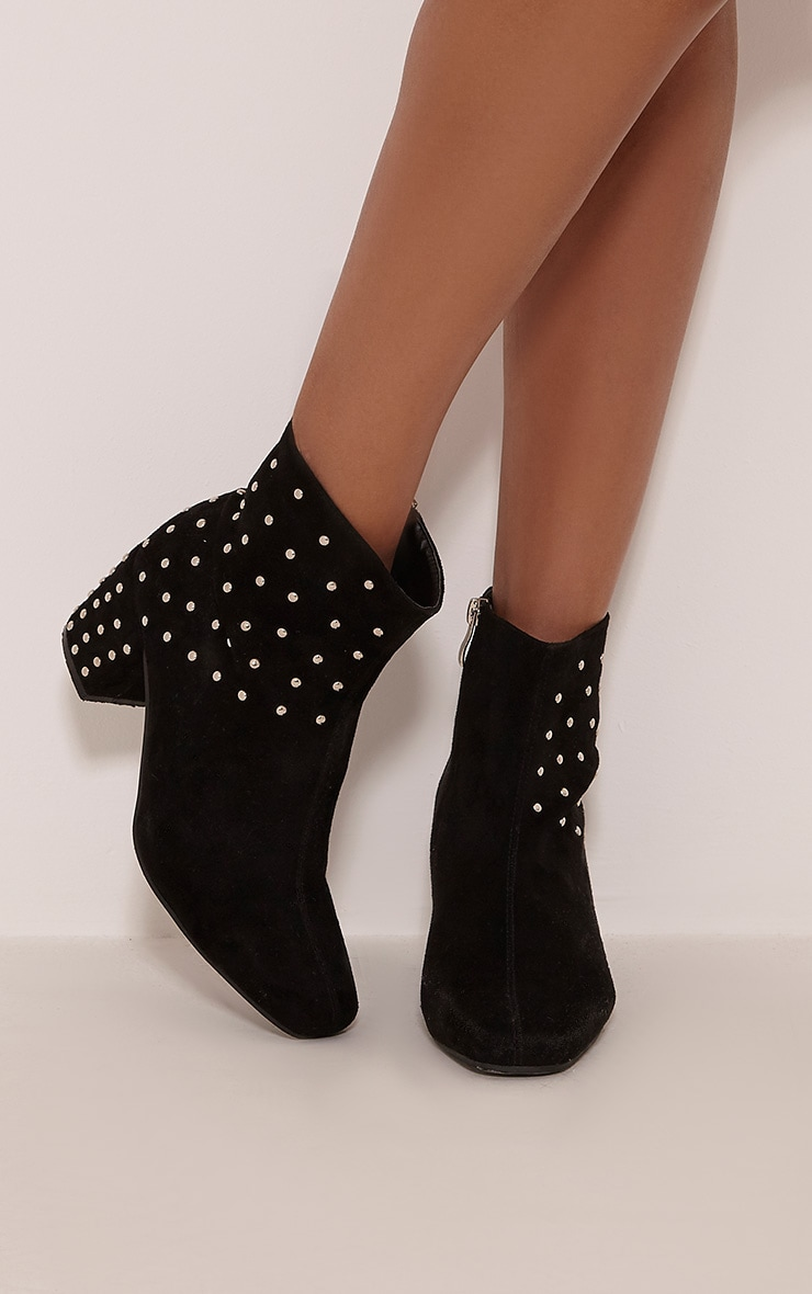 Kendal Black Faux Suede Studded Ankle Boots 1