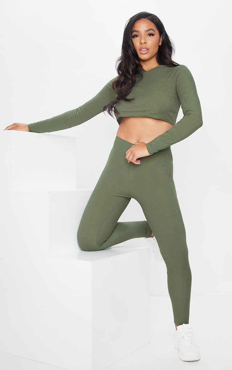 Khaki Rib Crop Long Sleeved Hoodie 3
